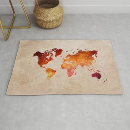 red world map watercolor art Rug