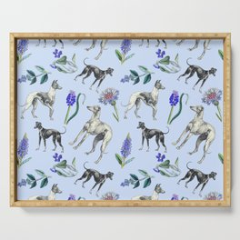 GREYHOUND  DOGS & BLUE MEADOW Serving Tray