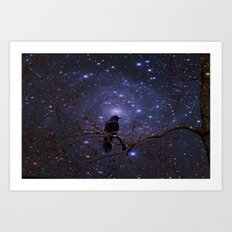 Black crow in moonlight Art Print