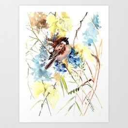 Sparrow, bird and flowers vintage style watercolor design sparrow Art Print