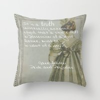 pride and prejudice Throw Pillows featuring Pride and Prejudice by Bonnie J. Breedlove