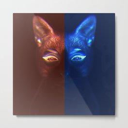 Neon Cat Metal Print