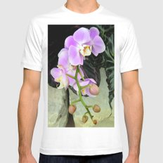 Orchids on the Rocks White MEDIUM Mens Fitted Tee