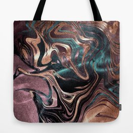 Metallic Rose Gold Marble Swirl Tote Bag