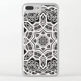 Mandala Project 209 | White Lace on Black Clear iPhone Case