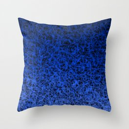 Blue Ombre Wispy Webbing on Black Throw Pillow