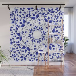 Pattern of blue leaves Wall Mural