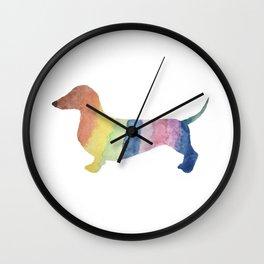Watercolor Rainbow Dachshund Wall Clock