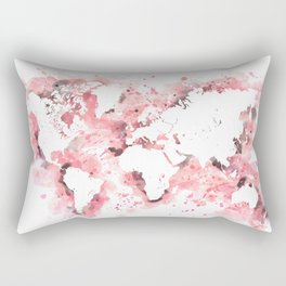 Light pink and grey world map with watercolor splatters Rectangular Pillow