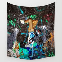 skateboard Wall Tapestries featuring skateboard street by  Agostino Lo Coco