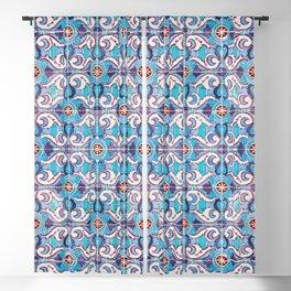 Seamless Floral Pattern Ornamental Tile Design : 11 blue Blackout Curtain