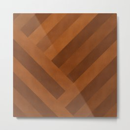 Boho, Faux Suede, Geometric Art, Terracotta Metal Print