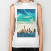skyline Biker Tanks featuring NYC Skyline by Vivienne Gucwa