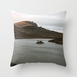Old man of Storr isle of skye scotland landscape nature lake scottish Throw Pillow