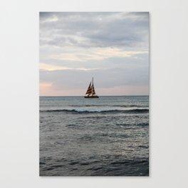 Boat off of Waikiki at Sunset Canvas Print