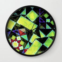 Green Shapes Geometric Wall Clock