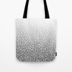 Gradient black and white swirls doodles Tote Bag
