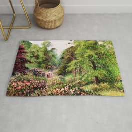 "Camille Pissarro ""Kew Gardens, Alley of Rhododendrons"" Rug"
