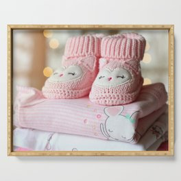 It's a Girl! / Baby Booties & Clothes Serving Tray