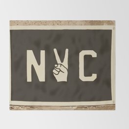 NYC Peace Sign (Color) Throw Blanket