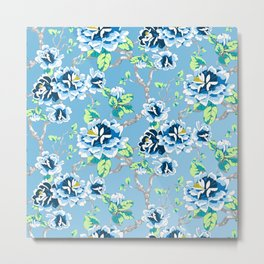 Chinoiserie Ming style Blue Floral Pattern Metal Print