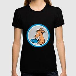 Donkey Boxing Side View Circle Cartoon T-shirt