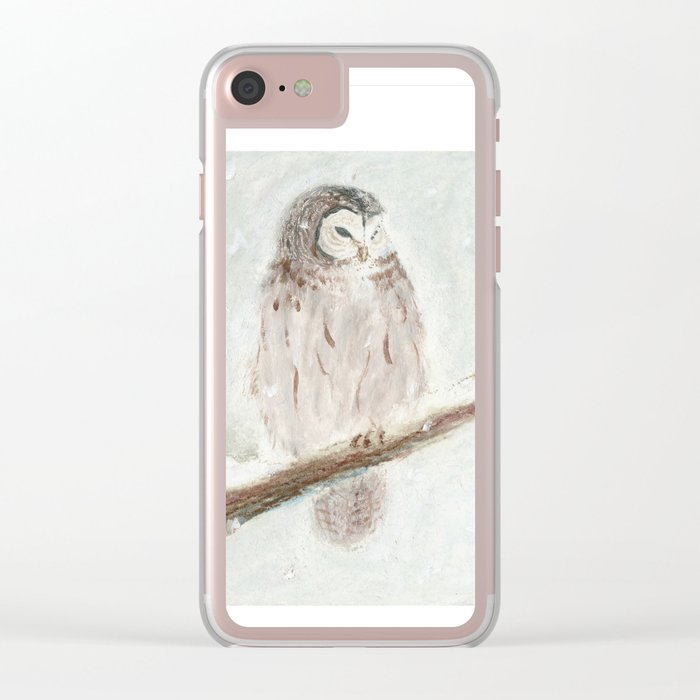 Owl Snow Clear iPhone Case