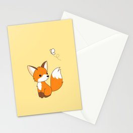 Cute Little Fox Watching Butterly Stationery Cards
