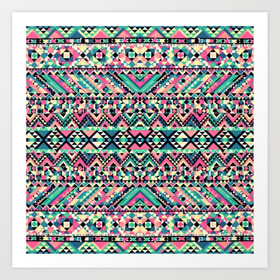 Pink Turquoise Girly Aztec Andes Tribal Pattern Art Print