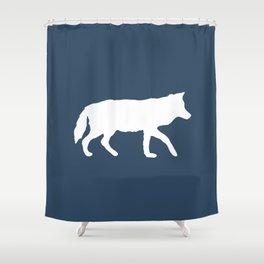 Minimalist Navy Blue Silhouette Fox Print Shower Curtain