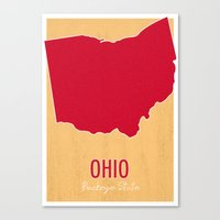 ohio state Canvas Prints featuring Ohio State Map - Buckeye State by finally sunshine