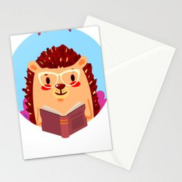 Adorable Hedgehog Book Nerd Shirt  Cute Pun Animal Stationery Cards