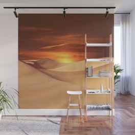 The Sunset On Desert Wall Mural