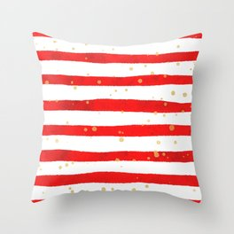 Modern hand painted red yellow watercolor stripes splatters Throw Pillow