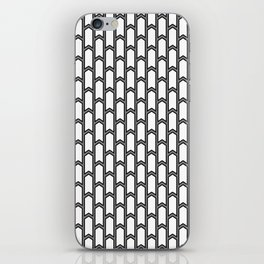 Black and white Geometric pattern with small gray arrows iPhone Skin