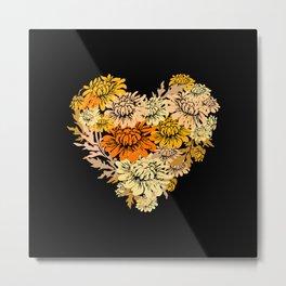 Chrysanthemum Heart Metal Print