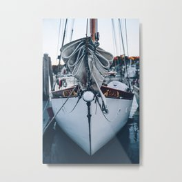The Bow of a Classic Sailboat Metal Print