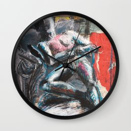 The Gallery mixed media figure drawing Wall Clock