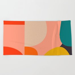 geometry shape mid century organic blush curry teal Beach Towel