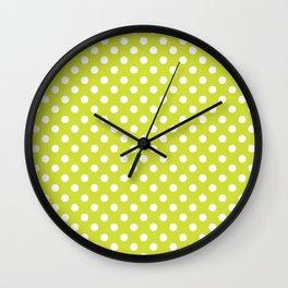 Pear Green and White Polka Dot Pattern Wall Clock