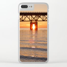 The Mackinac Bridge and the sun in between Clear iPhone Case