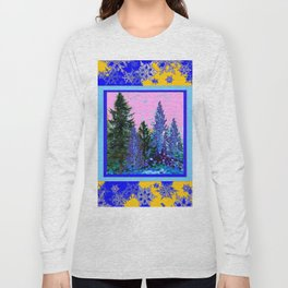 YELLOW-BLUE WINTER SNOWFLAKES  FOREST TREE  ART Long Sleeve T-shirt