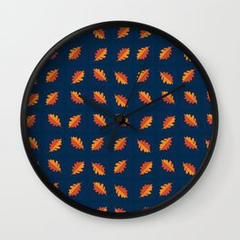 Fall Night - Leaf pattern on navy background Wall Clock