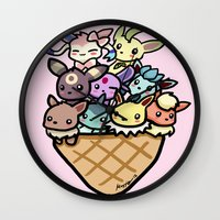 eevee Wall Clocks featuring Eevee Ice Cream by Mayying