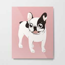 Happy and Fun Single Hooded Pied French Bulldog Metal Print
