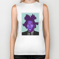 basquiat Biker Tanks featuring Basquiat by Grace Teaney Art