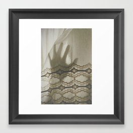 The Boy Behind The Curtain Framed Art Print
