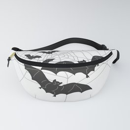 Black Bats with Spider Web Halloween Fanny Pack