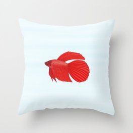 betta splendens red male Throw Pillow