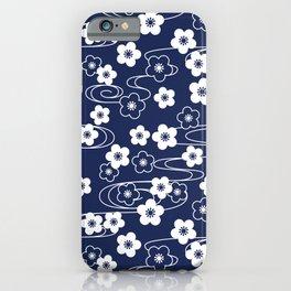 Blue Sakura Kimono Pattern iPhone Case